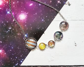 Jupiter's Moons Necklace // Jupiter Necklace // Planet Necklace // Solar System Necklace // Moon Jewelry // Io // Callisto // Europa