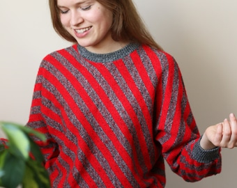 vintage 80's sweater, pullover ,batwing sleeves, striped red & gray noise