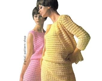 Crochet Pattern Sleeveless Dress & Jacket Womens Sweater Cardigan Pattern Instant Download PDF - C99