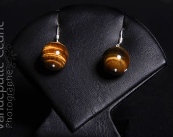 Earrings in 925 sterling silver and Brown Tiger eye round bead