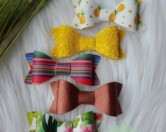 Vegan Leather Bows ~ Pineapple ~ Chunky Yellow Glitter ~ Serape ~ Copper ~ Cactus ~ Succulents ~ Clips or Nylon ~ Hair Accessories ~
