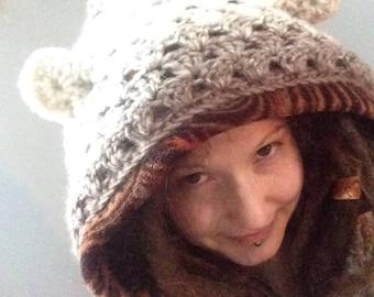 Cozy Creature HeadyHoody spirit hood, animal hood, upcycled, hooded scarf