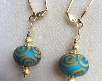 """Handcrafted earrings,  hand painted earrings, 1-1/2"""" long"""