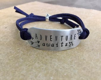 Adventure Awaits ~ Hand Stamped ~ Suede Charm Bracelet ~ Sold AS IS