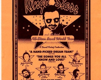 RINGO STARR 1995 Allstar Band Tour Aug 18-19 Orange Promotional Handbill (Beatles)