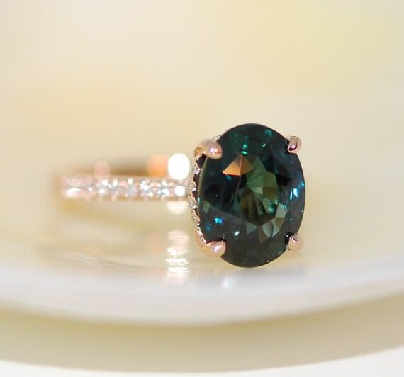Peacock Green Sapphire Engagement Ring Peacock Sapphire 5ct