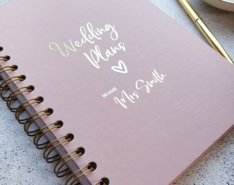 Dusky pink personalised wedding planning journal, note book, planner. Pure white pages,made with real gold foil & bound with bronze wire