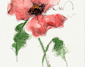 Original Watercolor Poppy Flower Art Hand Painted Red Poppy Flower Art Pen and Ink