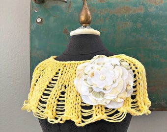 Sunshine Capelet in sunny yellow -  One of a Kind - Ready to Ship