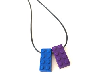 Kids block necklace. Childrens gift. Polymer clay block Novelty necklace. Stocking stuffer.