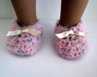 Shoes for 18 inch dolls, fluffy pink hand knit crochet slippers