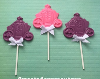 PRINCESS CARRIAGE Chocolate Pops(12)- PRINCESS Party/Cinderella Party Favors