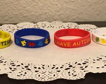 4 pcs I HAVE AUTISM medical alert bracelet for kids Puzzle pieces awareness (16 cm), autism bracelet, autism awareness bracelet