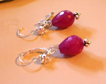 Plum Pink Jade Earrings with Silver Tone Lever Back Wires