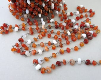 Mexican Fire Opal Rosary Chain By The Foot, Beaded Gun Metal Wire 4.5-5mm, Bulk Beaded Chain