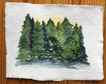 An Original Watercolor, Pine Trees