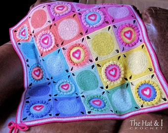 CROCHET PATTERN - Follow Your Heart - a crochet heart afghan pattern, crochet blanket pattern, crochet heart blanket - Instant PDF Download