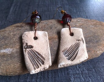 Ethnic inspiration - earrings made of ceramic, glass, bronze