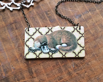 Platypus Necklace - monotreme paper necklace art necklace paper jewelry first anniversary