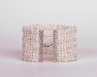 Bridal Pearls Bracelet in Cream, Opal White and Silver with Swarovski Crystals Hook and Eye Clasp. One of a Kind. Wedding Bracelet S193