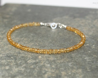 Citrine Bracelet, Citrine Jewelry, November Birthstone, Beaded, Stacking Bracelet, Gemstone Jewelry
