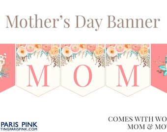 Mother's Day Banner | Printable | Instant Download | Floral | Flowers | Mom
