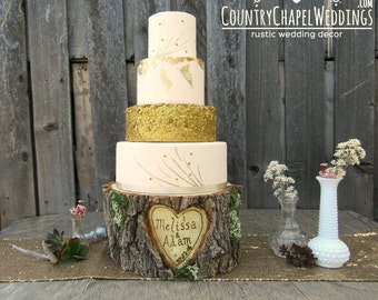 SALE!! Personalized Rustic Log Cake Stand ~ Wood Cake Stand ~ Rustic Wedding, Rustic Cake Stand, Stump Wedding Cake Stand ~ Heart in Tree