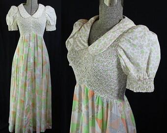 Candi Jones Dress, Hippie Boho Wedding, Maxi, Patchwork, Smocked, Puffed Sleeves