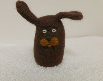 Needle Felted Puppy Dog Small Brown Merino Wool