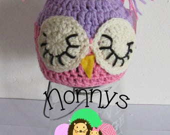 Crochet Owl Hat, 0-3 months Ready To Post