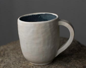 Woodfired Handmade White Clay Ceramic Mug with Dark Blue Glaze I