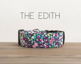 "Light Pink & Dark Pink Modern Vintage Floral Dog Collar ""The Edith"""