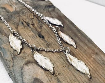 Silver Leaf Necklace - Vintage Style Nature Inspired Woodland Mothers Day Vintage Leaves Gifts Under 30 Statement Jewelry