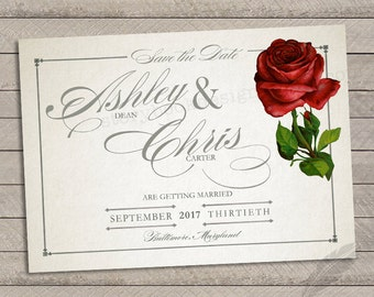 Classic Rose Save the Dates, wedding, birthday, you print, shower, beauty, beast, rose