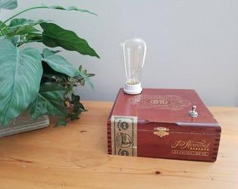 Edison Light, Table Lamp, Unique, Vintage, Cigar Box