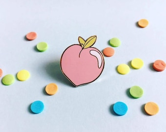 Pink peach enamel pin