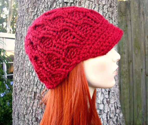 Hand Knit Hat Womens Hat Newsboy Hat - Amsterdam Cable Beanie with Visor in Cranberry Red Knit Hat Red Hat Womens Accessories