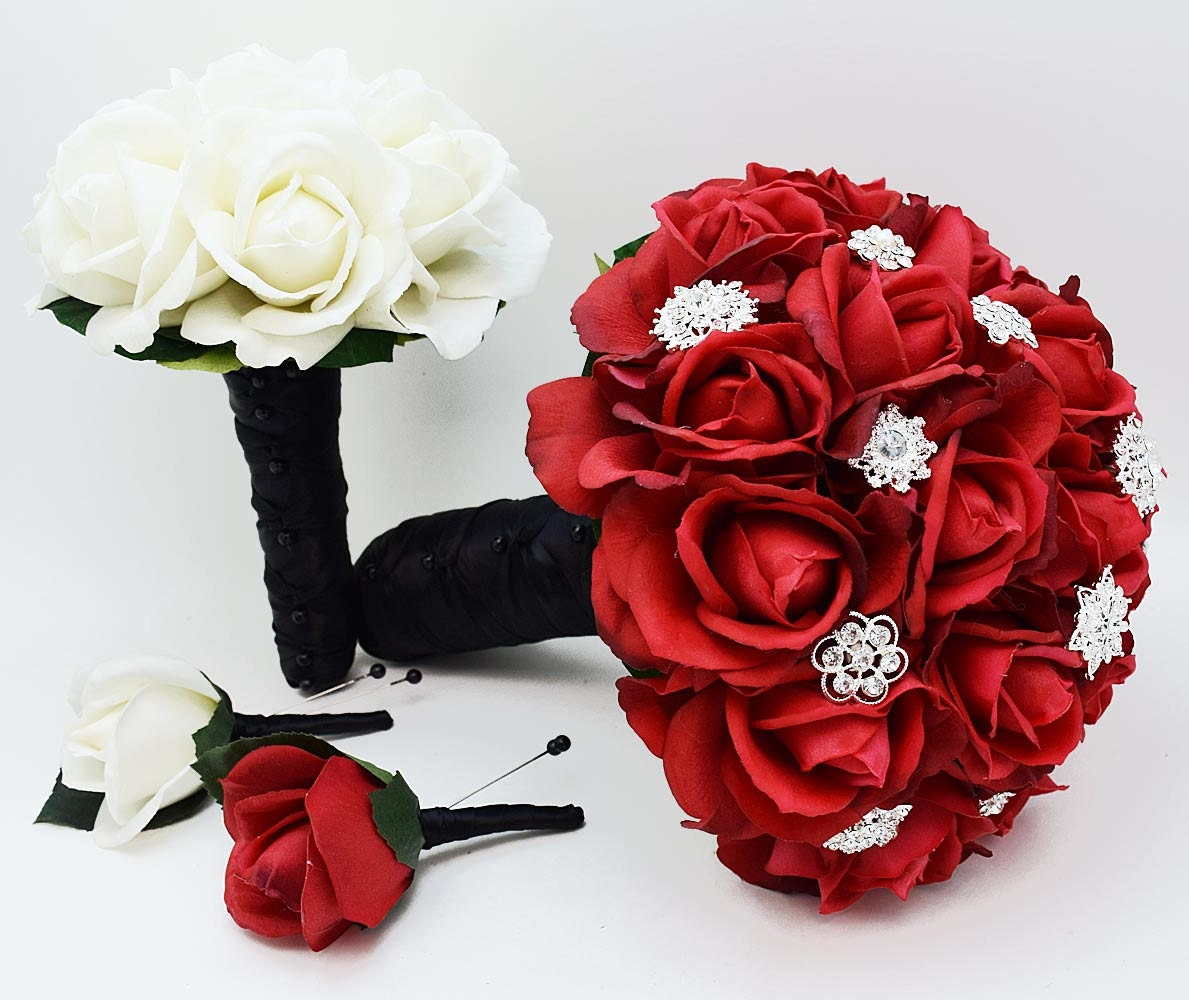 Bridal Bouquet Red Roses and Rhinestones Black & White