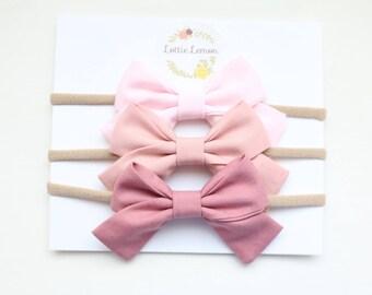 Mauve hombre trio/ baby headbands/ cute baby bows/ newborn headbands/ nylon headbands/ summer baby bows