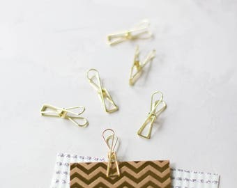Gold Small Metal Wire Binder Clips - 8 pc