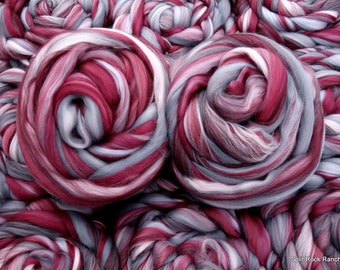 4 oz Elegance Merino Custom Blend - Pink, Burgundy, Gray - Spin, Felt, Fiber Art - Combed Top Roving