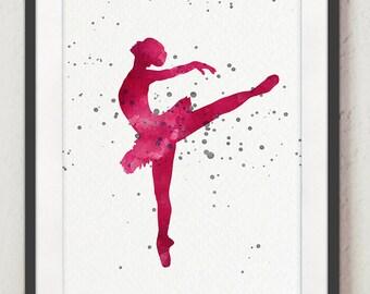 Ballerina Watercolor Painting, Pink Nursery Art Print, Abstract Silhouette Baby Girl Poster, Ballet Dancer Home Decor, Dancer Kids Wall Art
