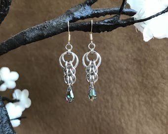 Swarovski Crystal, Rainbow, Green, Purple, Blue, Chainmaille, Earrings, Dangle, Drop, Tear Drop