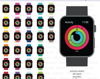 Activity Tracker Watch Clipart 29 colors, PNG Digital Clipart - Instant download