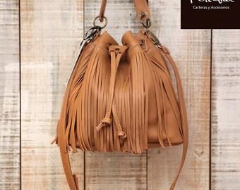 Fringe leather bag bucket purse  fringed crossbody bag tan leather bucket purse