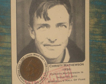 new just in christy mathewson Authenticated Ink Coin Card with 1889 indian head cent