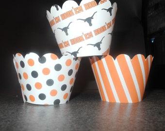 Longhorn  hook Em Horns University of Texas Cupcake Wrappers- Set of 12