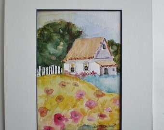 Country Cottage Painting,  original watercolor, cottage painting, whimsical