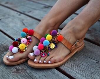 """Pom pom sandals """"Pansy"""", Boho sandals, Greek sandals, leather sandals, hippie sandals, Handmade sandals, colorful sandals, festival sandals"""