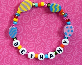 Spring Easter Jewelry for little girls Personalized Name bracelet Clay egg beads Easter basket filler Party Favor